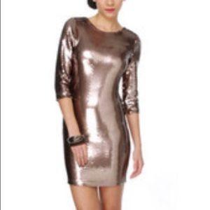 BB Dakota Bronze Sequin Cocktail Dress